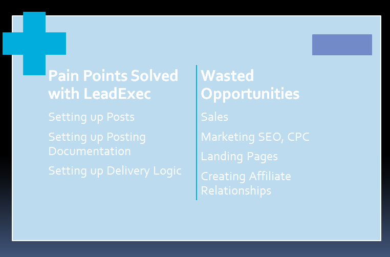 Pain points solved with lead exec.